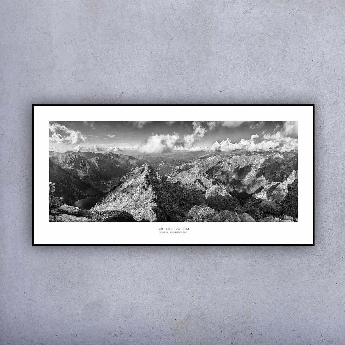 Plakat 100x50 Panorama Z Rysy Bw