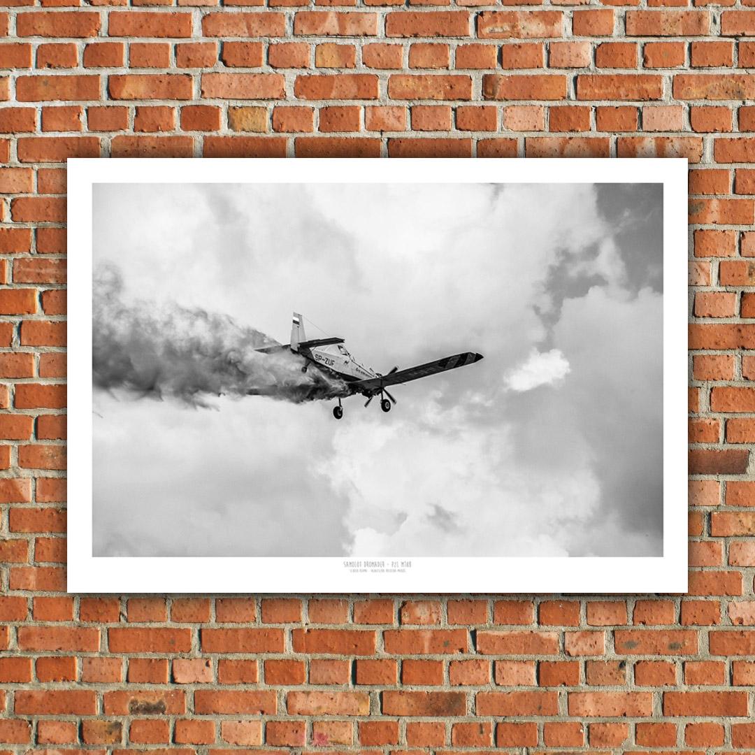 Plakat Samolot Dromader Pzl M18b Czarno Biały C